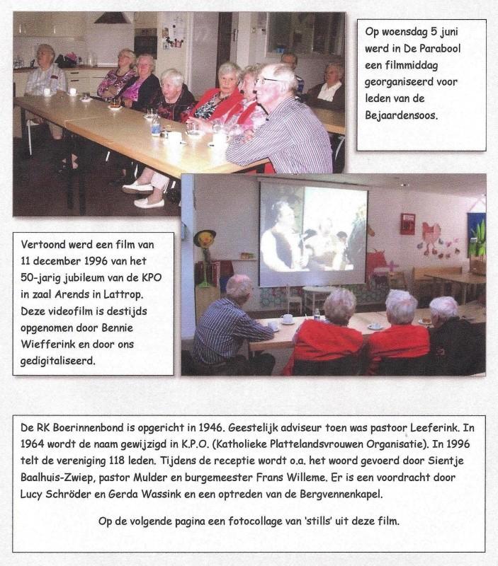 Filmmiddag bejaardensoos Lattrop-Breklenkamp film 50-jarig jubileum KPO 1996