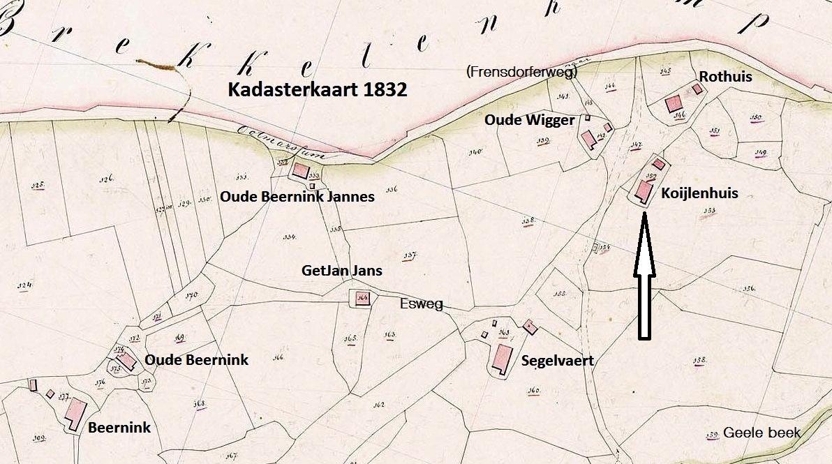 1 Kadasterkaart  1832 Coilenhuijs en directe omgeving