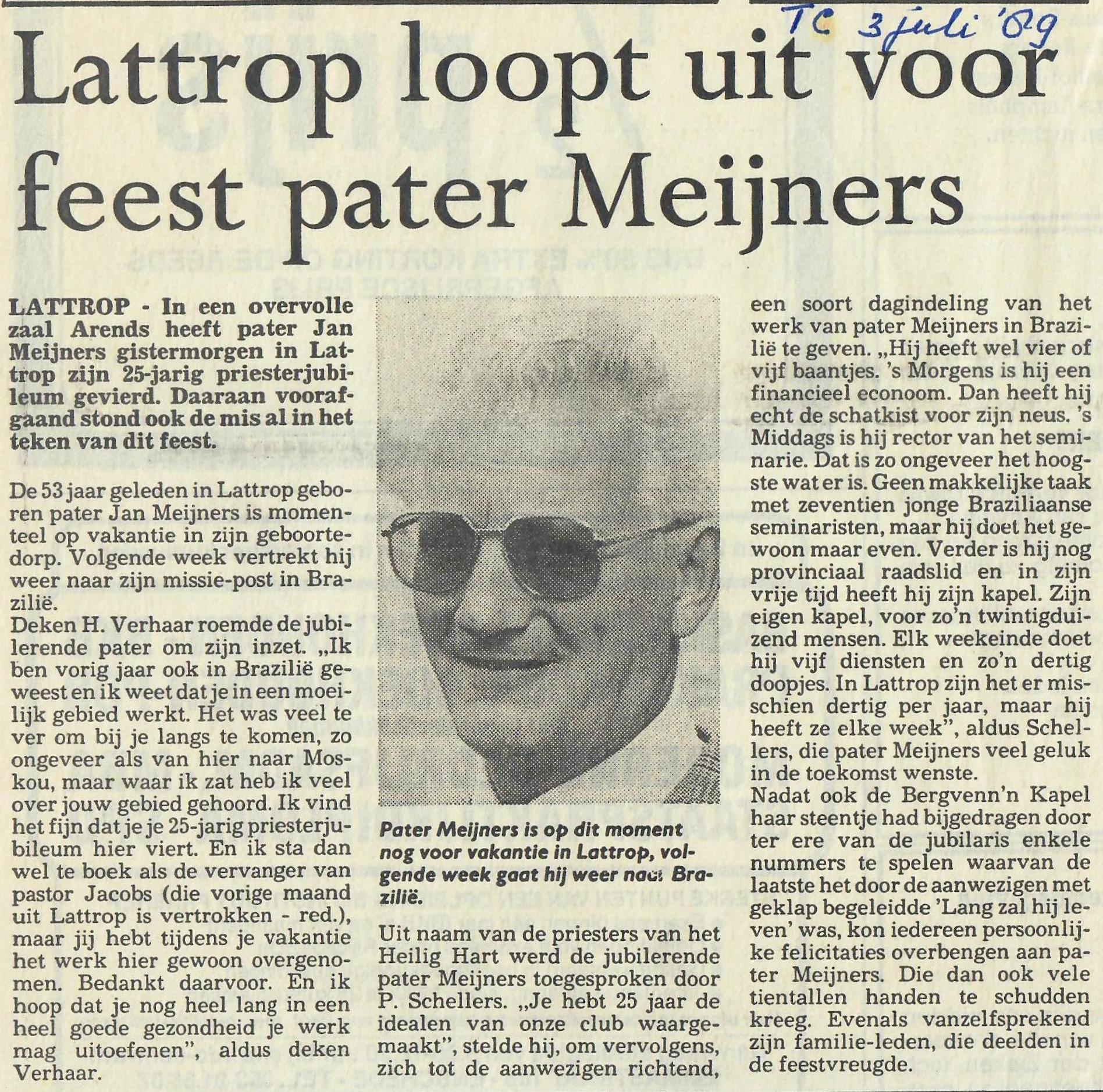 Twentsche Courant 03-07-1989 Lattrop loopt uit voor feest pater  Meijners