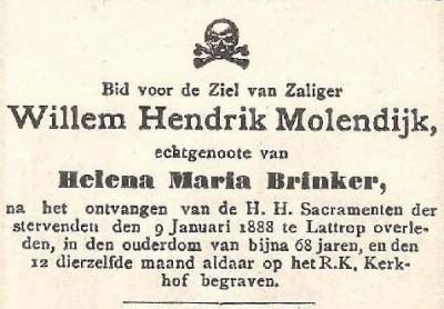 Bidprentje Willem Hendrik Molendijk Lattrop
