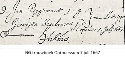 NG trouwboek Ootmarssum 7 juli 1667 Jan Piggemaet en Geertjen Segelvaert