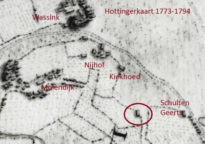 1773-1794 Hottingerkaart Breklenkamp (Molendijks Bakhuis)