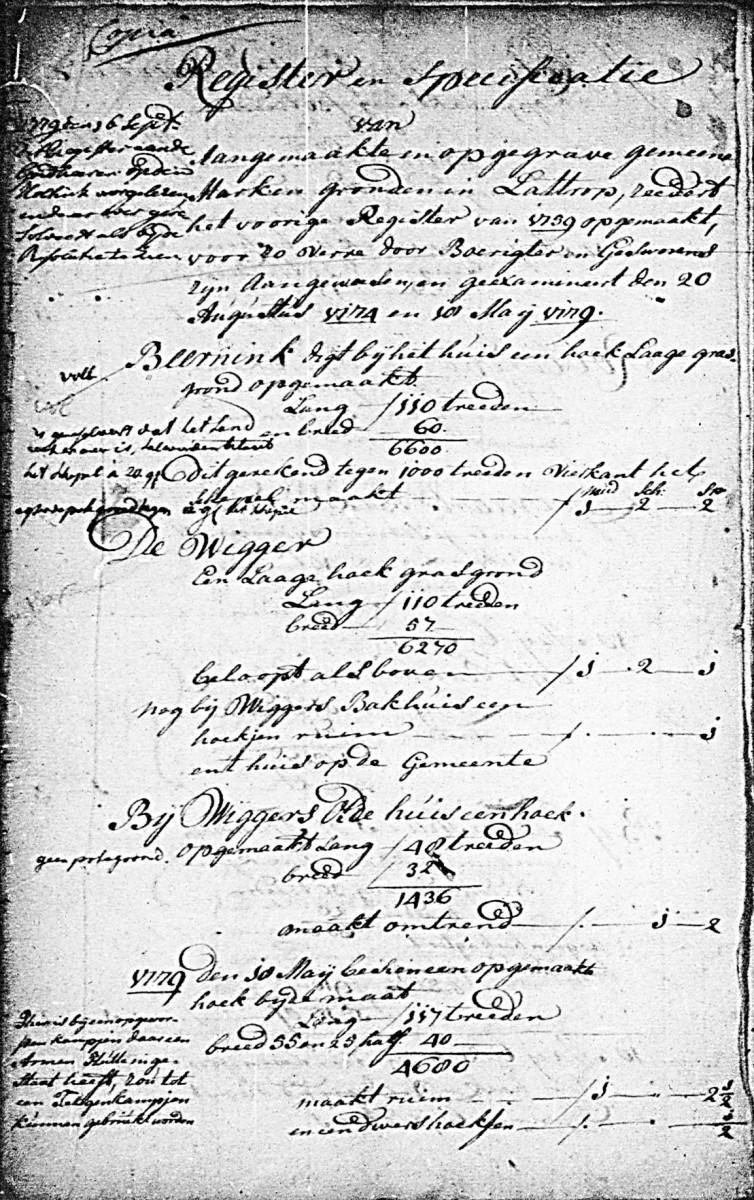 1774 en 1778 Register van aangemaakte Markengronden in Lattrop