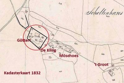 1832 Kadasterkaart erven Gerrit Jan ten Bokum Tilligte 1832