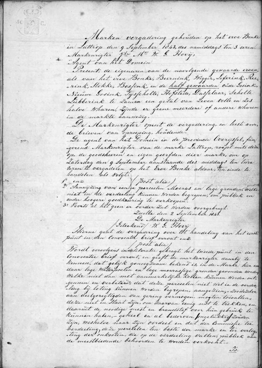 1843-09-09 Marken vergadering op het erve Bonke in Lattrop (1)