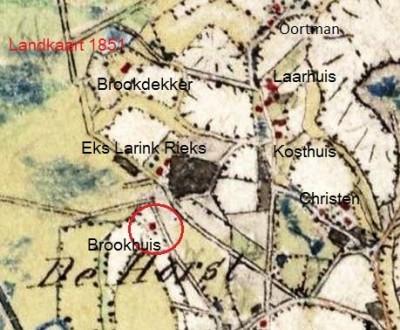 1851 Landkaart Oortman op Brookhuis Lattrop