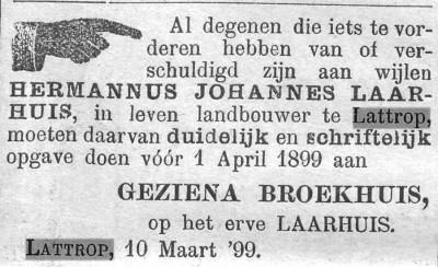1899-03-11 Hermannus Johannes Laarhuis (Twentsche courant)