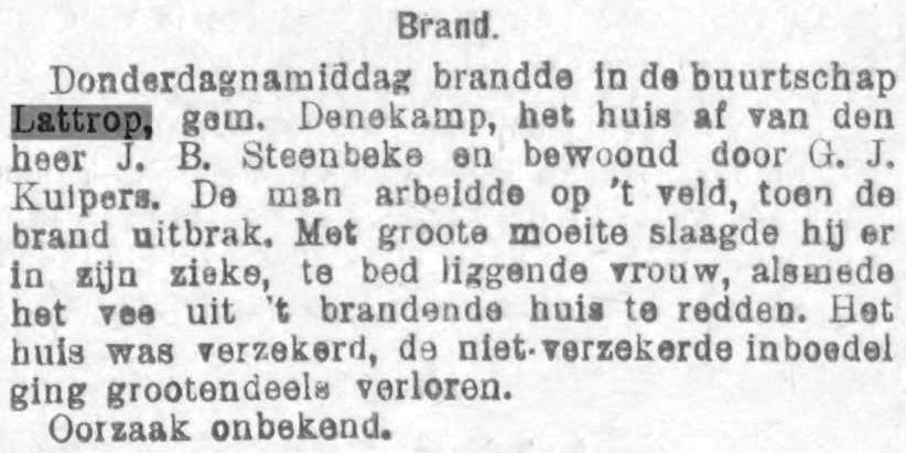 1899-07-15 Huis JB Steenbeke afgebrand De Courant