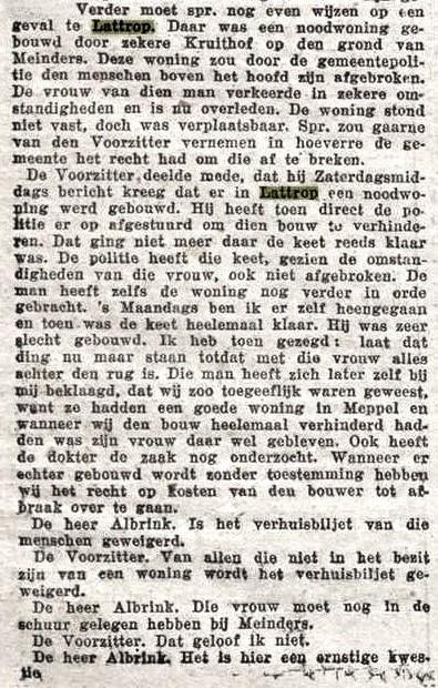 1925-07-01 Gemeenteraadsvergadering Denekamp Afbraak noodwoning in Lattrop 1