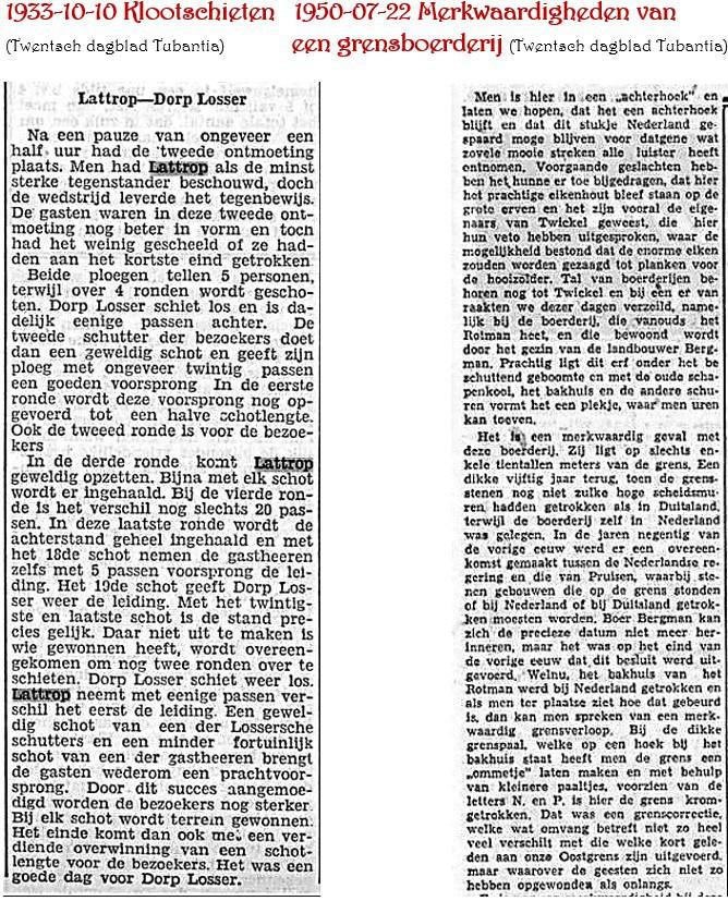 1933-10-10 Klootschieten en 1950-07-22 merkwaardigheden van een grensboerderij