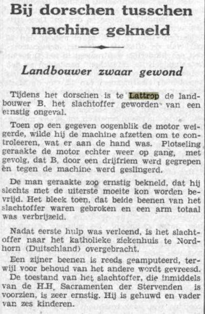 1939-02-07 Bij dorschen tussen machine gekneld (De Tijd)