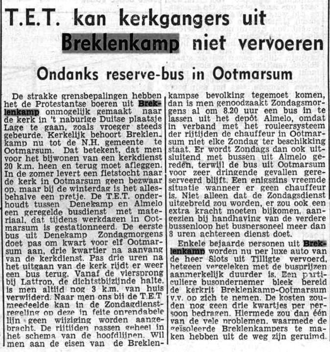 1951-01-23 TET kan kerkgangers uit Breklenkamp niet vervoeren (Twentsch dagblad Tubantia)