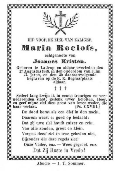 Bidprentje Maria Roelofs Lattrop