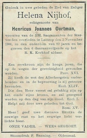 Bidprentje Nijhof Helena ev Oortman Henricus Joannes Breklenkamp 1826 Lattrop 1906