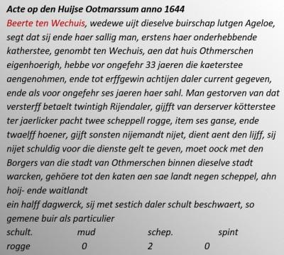 Acte op den Huijse Ootmarssum anno 1644 Beerte ten Wechuis
