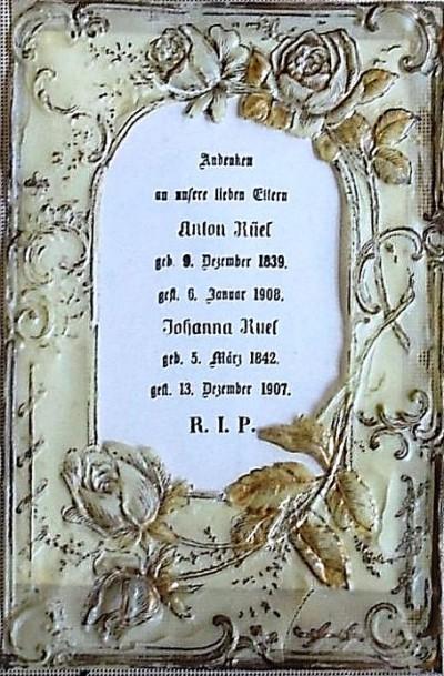 Andenken an unsere Eltern Anton Rüel en Johanna Pasie