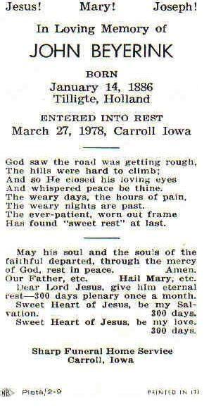 Beijerink John geb Tilligte 14-01-1886 ovl Carroll Iowa 27-03-1978
