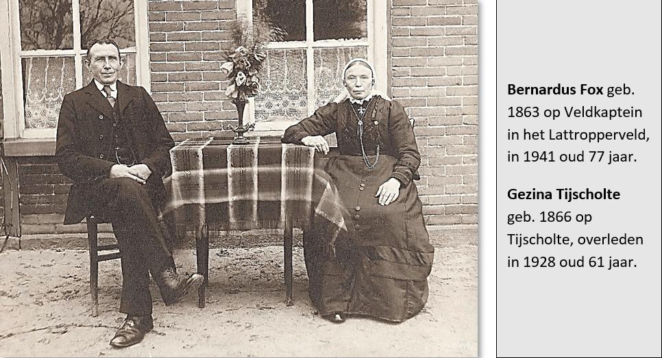 Bernardus Fox en Gezina Tijscholte op Goosinkbaks in Lattrop