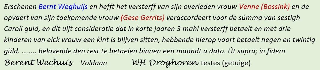 Bernt Weghuijs accordeert versterff Venne Bossink en opvaert Gese Gerrits 11-03-1730