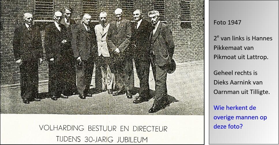 Bestuur en Directeur Coöp. Zuivelfabriek Volharding in Denekamp 1947