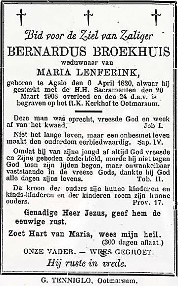 Bidprentje Bernardus Broekhuis Klein Agelo 1820-1903