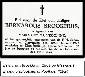 Bidprentje bernardus Brookhuis geb 1861 op Meendert broekhuisplaatsjen of Poolboer ca 1924