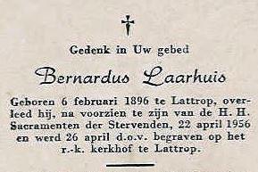 Bidprentje Bernardus Laarhuis Lattrop 1896-1956