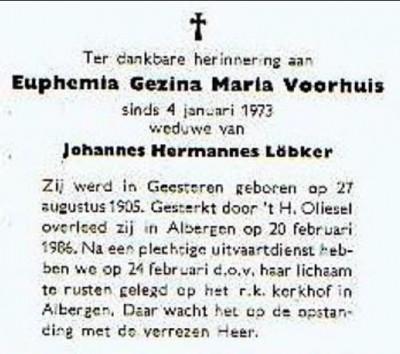 Bidprentje Euphemia Gezina Maria Voorhuis Albergen 1905-1986