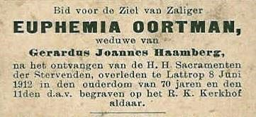 Bidprentje Euphemia Oortman Lattrop 1842-1912