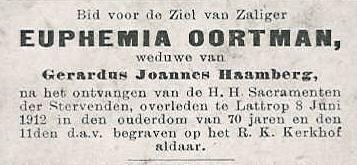 Bidprentje Euphemia Oortman
