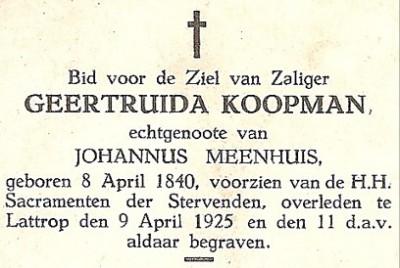 Bidprentje Geertruida Meenhuis-Koopman 1840-1925 op Zegelvoort in Lattrop