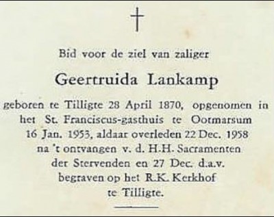 Bidprentje Geertruida (Trui) Lankamp in Tilligte 1870-1958