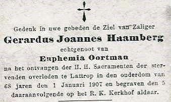 Bidprentje Gerardus Joannes Haamberg