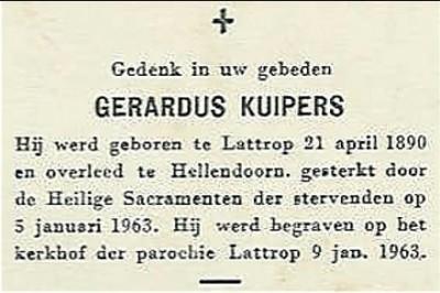 Bidprentje  Gerardus Kuipers Lattrop 1890-1963