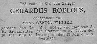 Bidprentje Gerardus Roelofs Lattrop 1836-1923