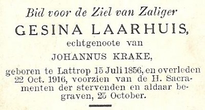 Bidprentje Gesina Laarhuis Lattrop 1856-1916