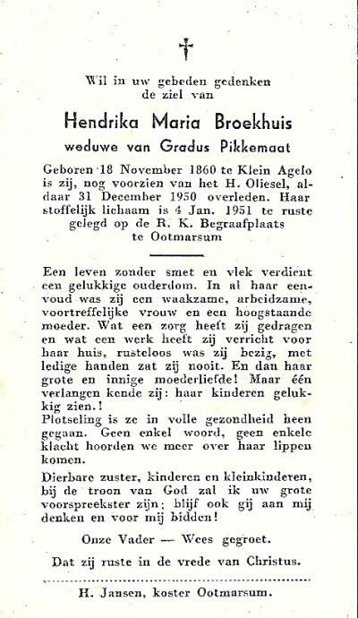 Bidprentje Hendrika Maria broekhuis ev Gradus Pikkemaat 1860-1951 Klein Agelo