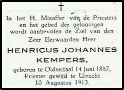Bidprentje Henricus Joannes Kempers Lattrop