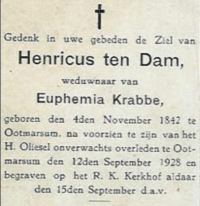 Bidprentje Henricus ten Dam Oud Ootmarsum 1842-1928