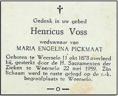 Bidprentje Henricus Voss Weerselo 1873-1959