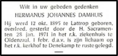 Bidprentje Hermanus Johannes (Hannes) Damhuis Denekamp