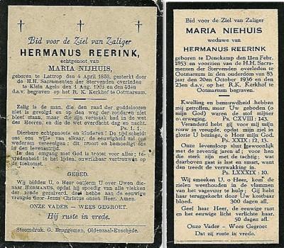 Bidprentje Hermanus reerink 1853-1903 en Maria Niehuis 1853-1936 op Weghuis in Klein Agelo