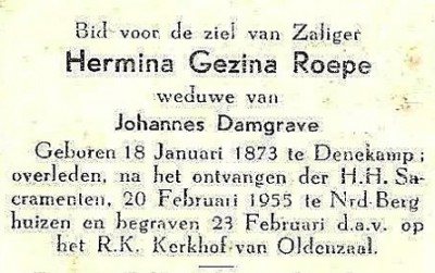 Bidprentje Hermina Gezina Roepe Denekamp 1873-1955