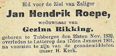 Bidprentje Jan Hendrik Roepe 1832-1901 op Mössem in Lattrop