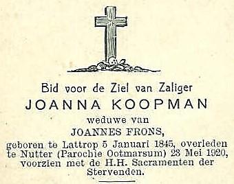 Bidprentje Joanna Koopman Lattrop 1845 Nutter1920
