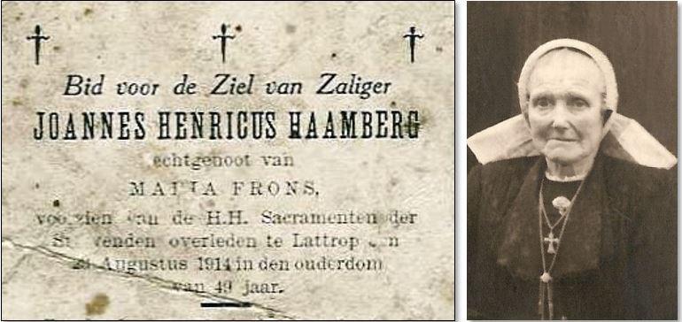 Bidprentje Joannes Henricus Haamberg en foto Maria Frons op Rothuis Lattrop