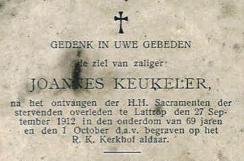 Bidprentje Joannes Keukeler Lattrop 1843-1912