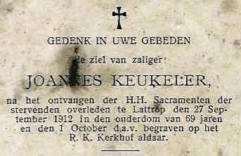 Bidprentje Joannes Keukeler