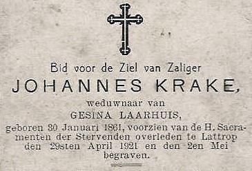 Bidprentje Johannes Krake Lattrop 1861-1921