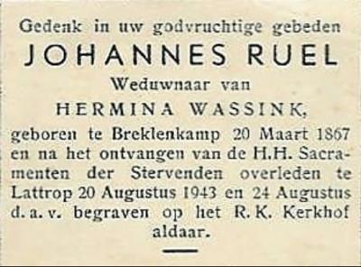 Bidprentje Johannes Ruël Lattrop 1867-1943